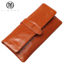 EIMORE Brand 100% Genuine Leather Women Wallets Design Luxury Brand Lady Clutch Bags Cowhide Purse for Female Phone Card Holder