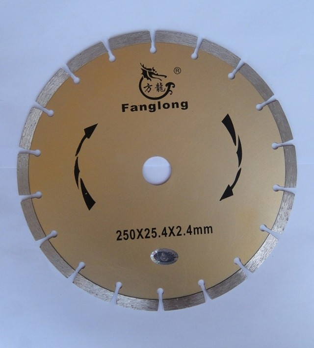 Free Shipping Of 1PC Decoration Grade 250*25.4*8mm Segmented Diamond Saw Blade For Marble/granite/concrete General Cutting
