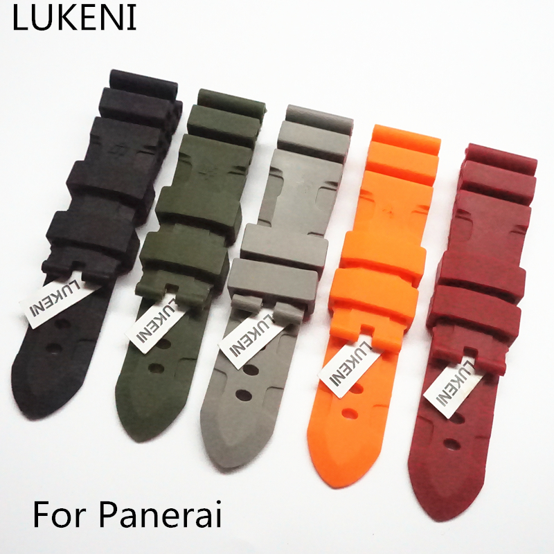 LUKENI 24mm 26mm Men's Black Gray Green Orange Red Silicone Rubber Strap Replace Panerai Pam Watchband Bracelet Without Buckle
