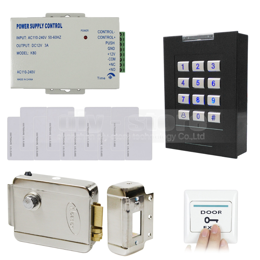 DIYSECUR RFID 125KHz ID Card Reader Keypad Access Control System Kit + Electronic Lock + Power Supply +10 ID Cards
