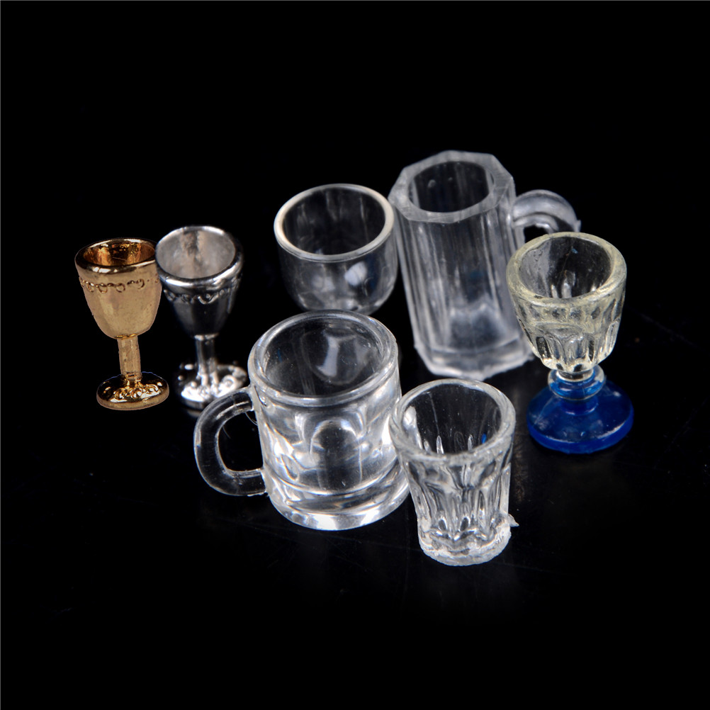 Transparent Goblet Miniature Mini Wine Beer Cup Dollhouse Craft Home Decoration Glass Model DIY Parts 1:12 Scale Plastic 1/2Pcs