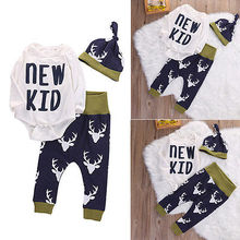 Cute Infant Baby Boys Girls Deer Bodysuit Top Pant Hat Kids Christmas Outfits Set Clothing