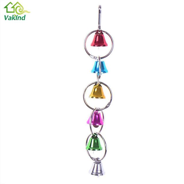 Colorful Parrot Bird Toys Metal Ring Bell Hanging Cage 3