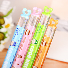 4 Pcs / Lot 15cm Korean Stationery Kawaii Mini Heart Plastic Straight Rulers For Students Kids Gift Office School Supplies