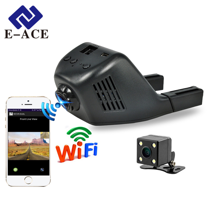 E-ACE Mini Wifi Car Dvr Dash Camera Video Recorder Dvojni objektivi z kamero zadaj FHD 1080P Auto Reistrator Dashcam