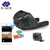 E-ACE Mini Wifi Del Coche Dvr Dash Cam Grabadora de Vídeo Digital doble Lente de la Cámara de 170 Grados de Hd 1080 P Reistrator Noche versión