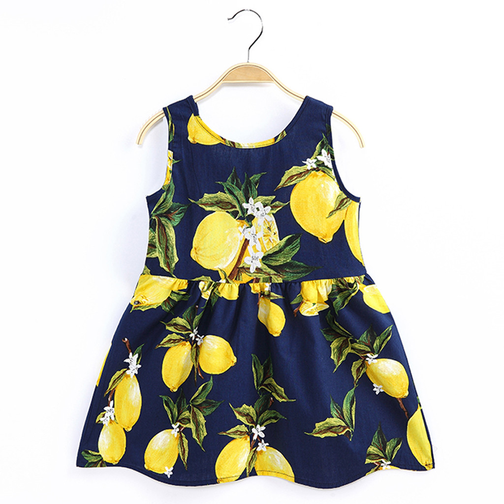 Navy Toddler Dress | Toddler Baby Girls Sleeveless Lemon Fruit Dress Navy White Lacing O Neck Mini Dress Princess Dress Clothes  HOOLER