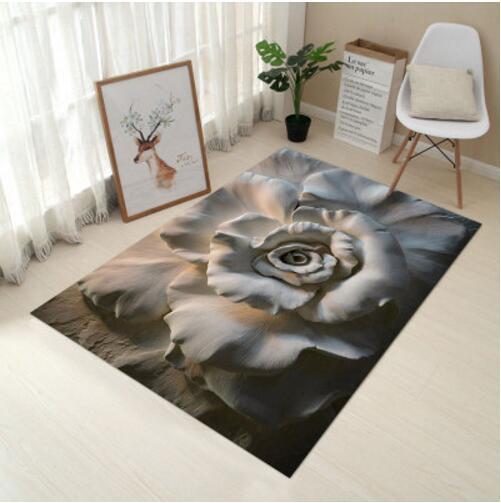 Mat For Home Parlor Bedroom Living Room 9 Dimensions: DeMissir Art 3D Rose Carving Printed Grey Carpet Small