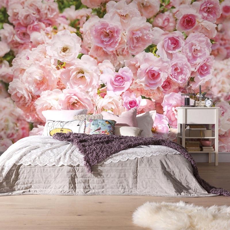 Romantic Pink Rose Flower Background Wall Murals Wedding House Living Room Home Decor Photo Wallpaper Papel De Parede Floral 3D