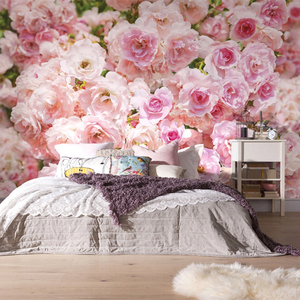 Romantic Pink Rose Flower Background Wall Murals Wedding House Living Room Home Decor Photo Wallpaper Papel De Parede Floral 3D(China)