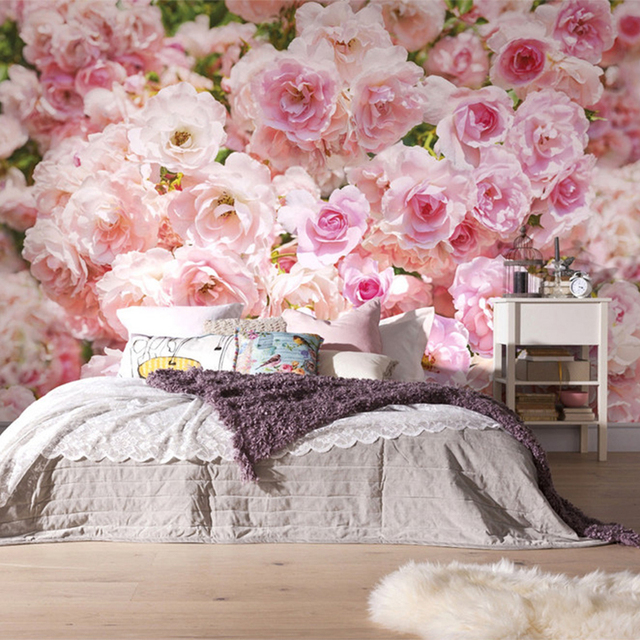 Romantic Pink Rose Flower Background Wall Murals Wedding House ...