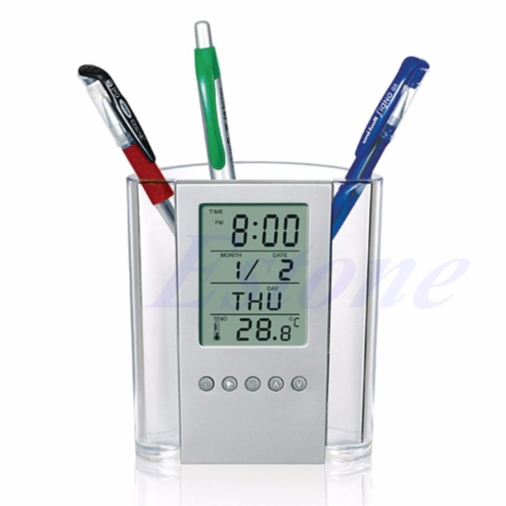 Soft And Antislippery Multifunctional Pen Pencil Holder Digital Desk Alarm Clock Calendar Temperature Timer not Battery
