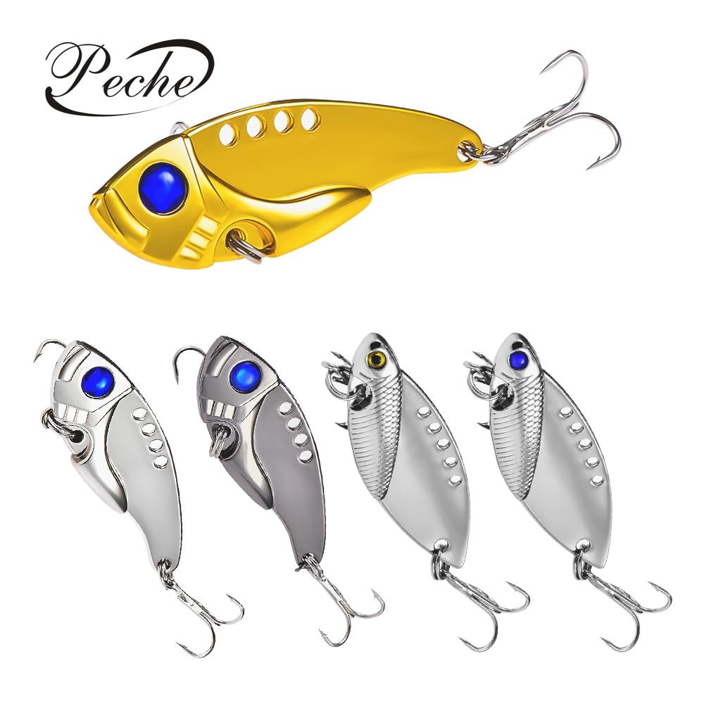 4 colors  Hard Bass Tackle VIB Fishing Lures Jig Head  Crank Bait Metal Spoons
