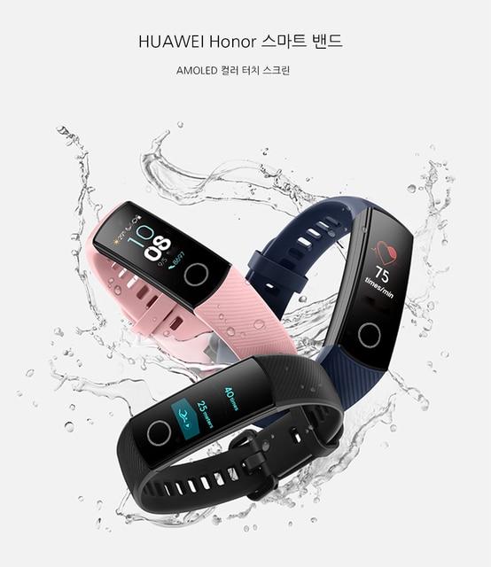 Смарт браслет Huawei Honor Band 4 0,95 цветной Amoled сенсорный экран для плавания 50 м водонепроницаемый датчик пульса и сна