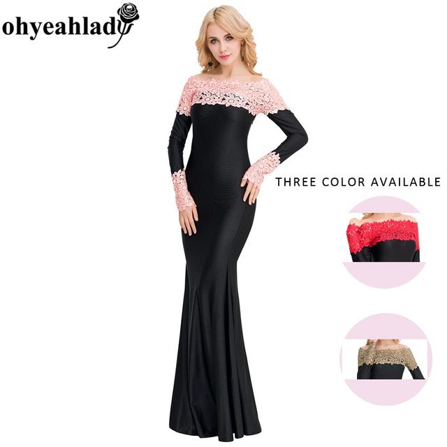 1b790978157 V1020 Ohyeahlady Dress Plus Size Three Color Summer Maxi Dress Boat Neck  Red Lace Evening Gown Elegant Dress Long Sleeve Dress. Anniversary Sale US  ...