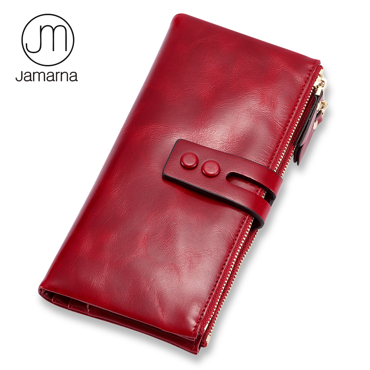 Jamarna Wallet Female Red Leather Women Wallets With Zipper Oil Wax Credit Card Holder Coin Wallet Double Zipper Design