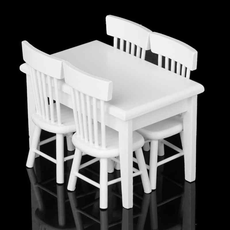 5 шт. 1/12 кукольная Миниатюра столы, стулья для Миниатюрный Кукольный дом Украшения Еда Мебель кукольный домик украшение