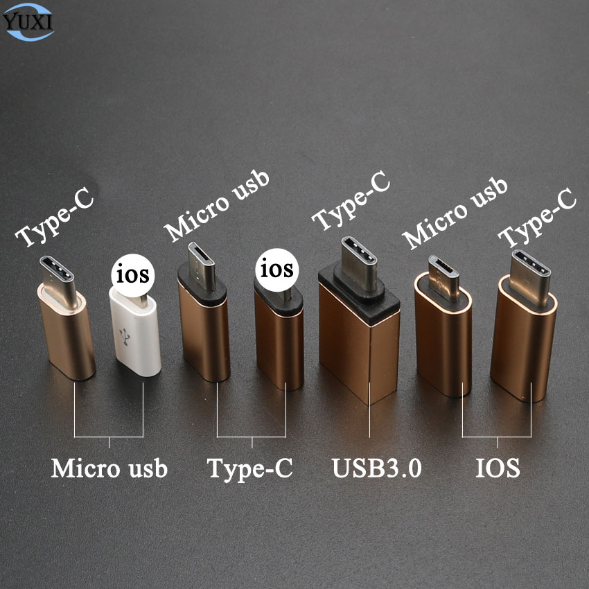 YuXi Type-C Converter To Micro USB 3.0 USB-C Adapter For IPhone & Android Charger / Date Cable Connector To IOS Port
