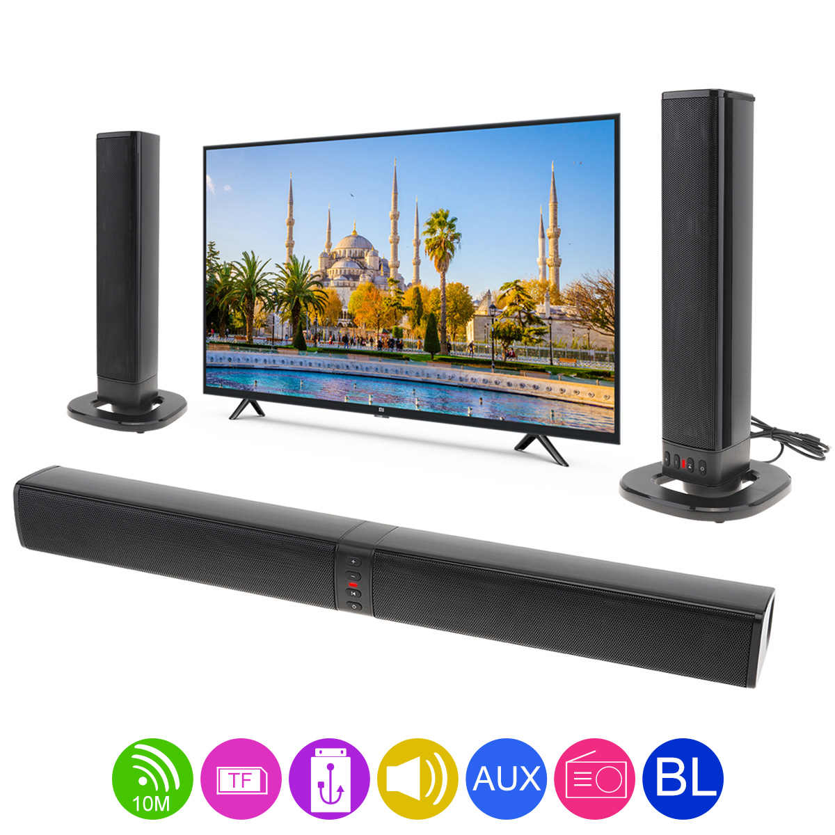 BS-36 Heimkino Surround Multi-funktion Bluetooth Soundbar-lautsprecher mit 4 Vollständige Palette Hörner Unterstützung Faltbare Split für TV /PC