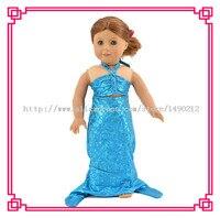 Yeni Stil Mavi Orijinal Masal Prensesi Denizkızı Bebek Elbise Fit 18 inç Amerikan kız bebek, en iyi Yılbaşı hediyesi