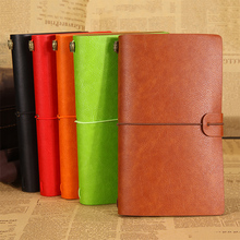High quality Leather journal travelers notebook A6 vintage sketchbook with three kinds paper korean stationery school supplies 100% high quality travelers notebook fiiler paper 3 types page paper 3 size page paper for travel notebook change school supplie