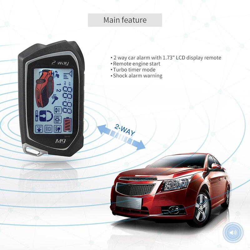 Système d'alarme de voiture EASYGUARD 2 voies grand écran Pager LCD démarrage automatique arrêt Turbo minuterie Mode alarme choc/vibration universel DC12V - 3