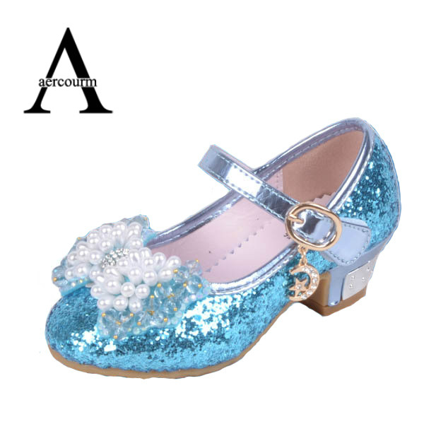 Aercourm A 2017 New Girl Princess Shoes Bows High Heels Snow Anna Artificial PU Elsa Girls Wedding Party Dance Shiny Shoes 26-36 elsa shoes сандалии