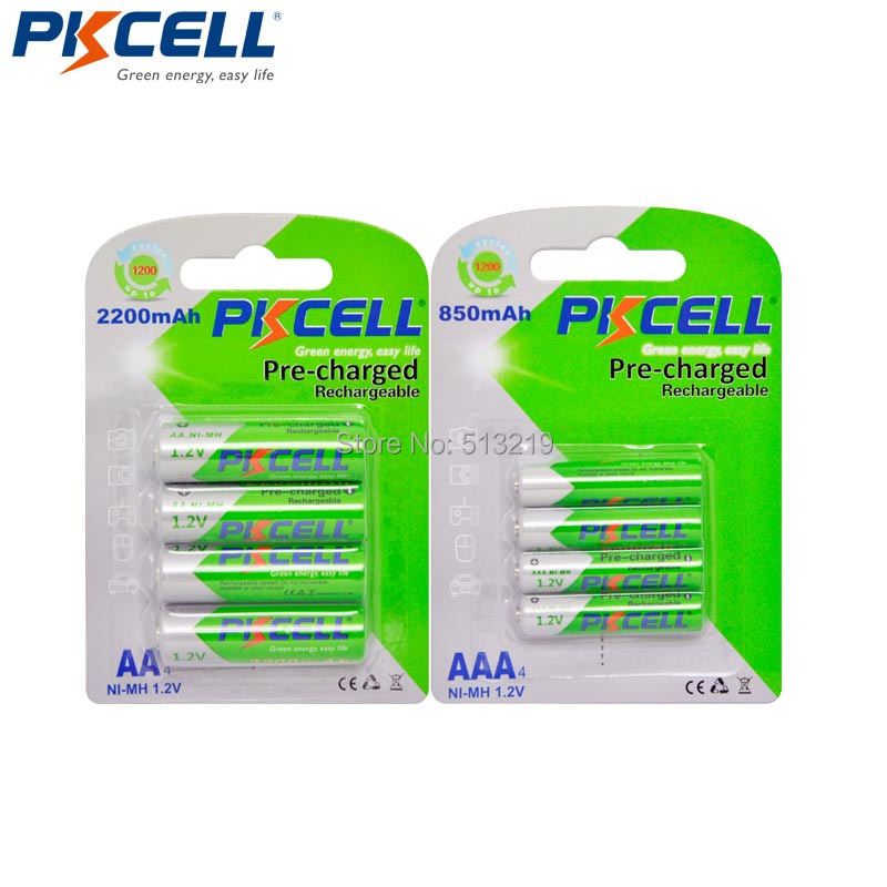 Image 2 - 8pcs PKCELL 1.2V NiMh AA AAA Rechargeable Battery Precharge Batteries (4Pcs AA 2200mAh +4Pcs AAA 850mAh)aa rechargeable batteryrechargeable batterybattery a - AliExpress