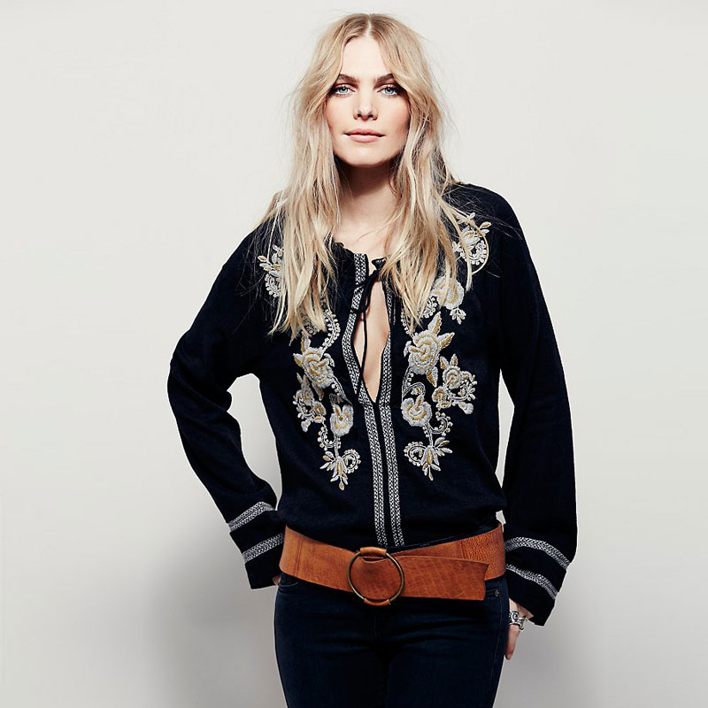 2018 Vintage BOHÈME floral blouses brodées gland longue lanterne manches lâche décontracté hippie haut pour femme blouse