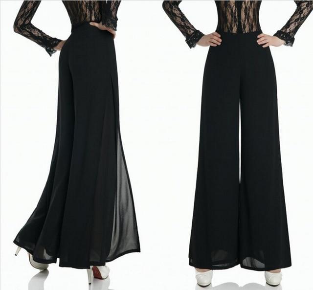 a8c57d16dde Plus Size Women Elegant High Waist Pants Black Chiffon Double Layers Slit  Palazzo Wide Leg Pants For Ladies Bilayer Trousers