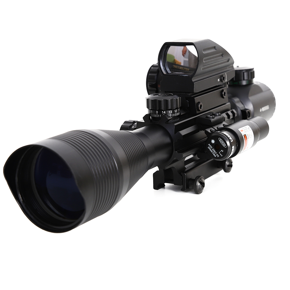 4-12X50 Rifle Scope Sight Illuminated Rangefinder 4 Reticle Red Green Dot Laser Light Airsofts Riflescope Optics Rifle Scope