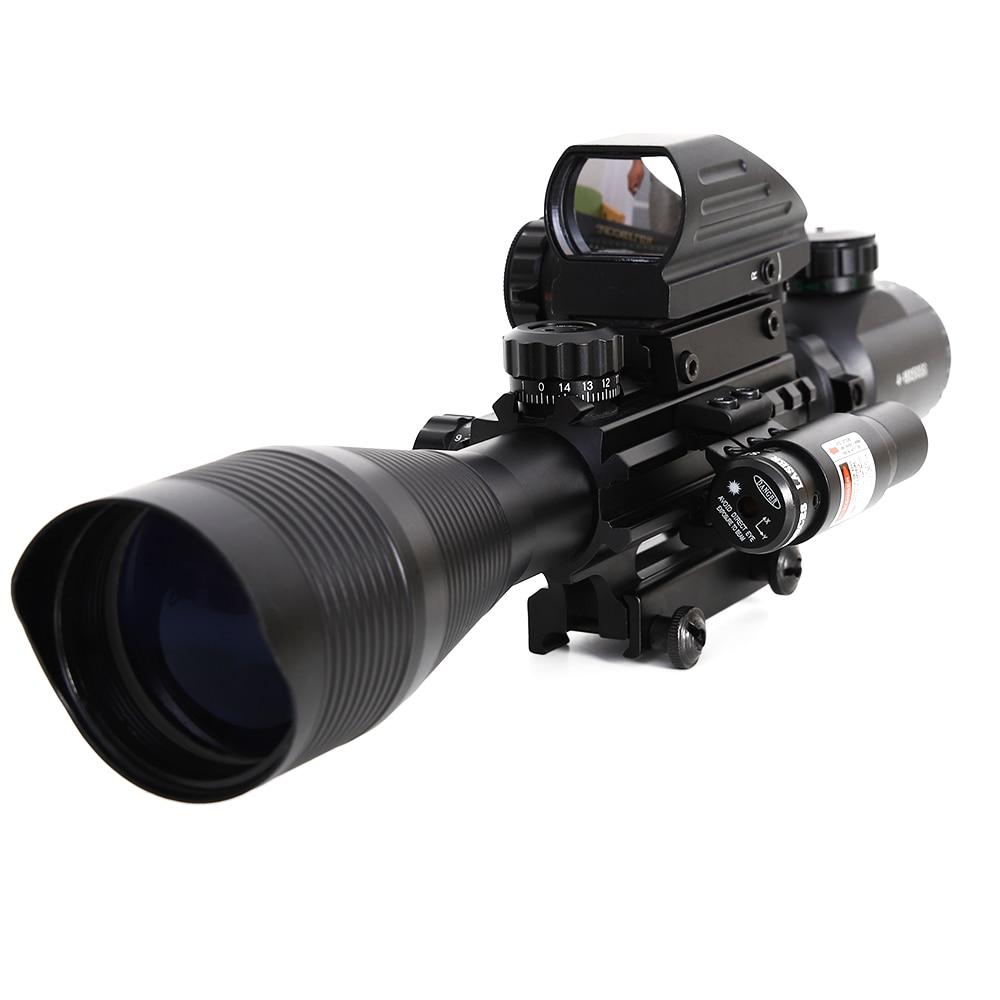 4-12x50 rifle scope visão iluminado rangefinder 4 retículo vermelho verde dot luz laser airsofts riflescope óptica rifle scope