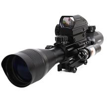 4 12x50 rifle scope visão iluminado rangefinder 4 retículo vermelho verde dot luz laser airsofts riflescope óptica rifle scope