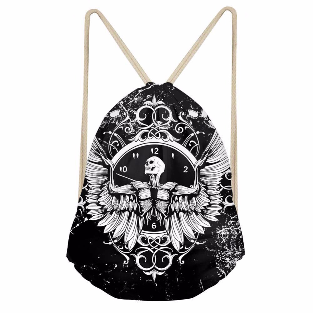 Noisydesigns simple black and white personality 3D Tropical Printed Backpack Women Girls New Drawstring Bag Casual