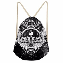 Noisydesigns simple black and white personality 3D Tropical Printed Backpack Women Girls New Drawstring Bag Casual Travel