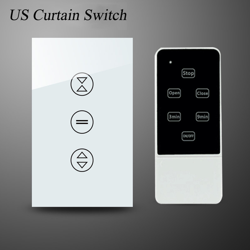 US 433Mhz Luxury Galss Panel Electric Touch Curtain Wall Switch white