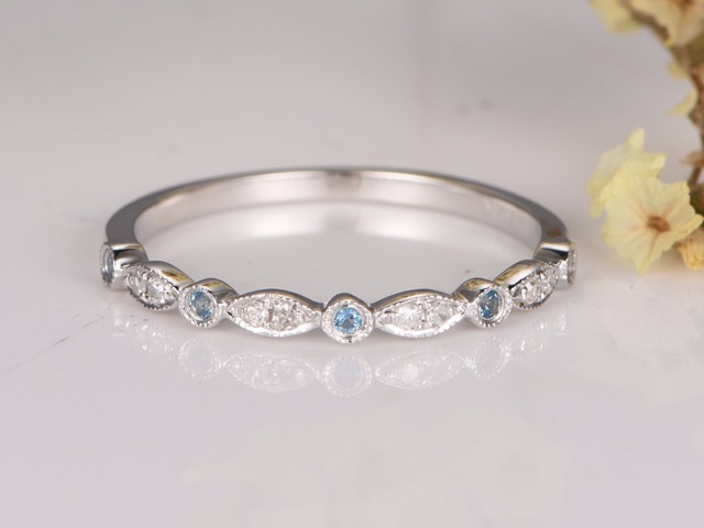 MYRAY Wedding Bands Blue Topaz Engagement Ring Bezel Set Ring