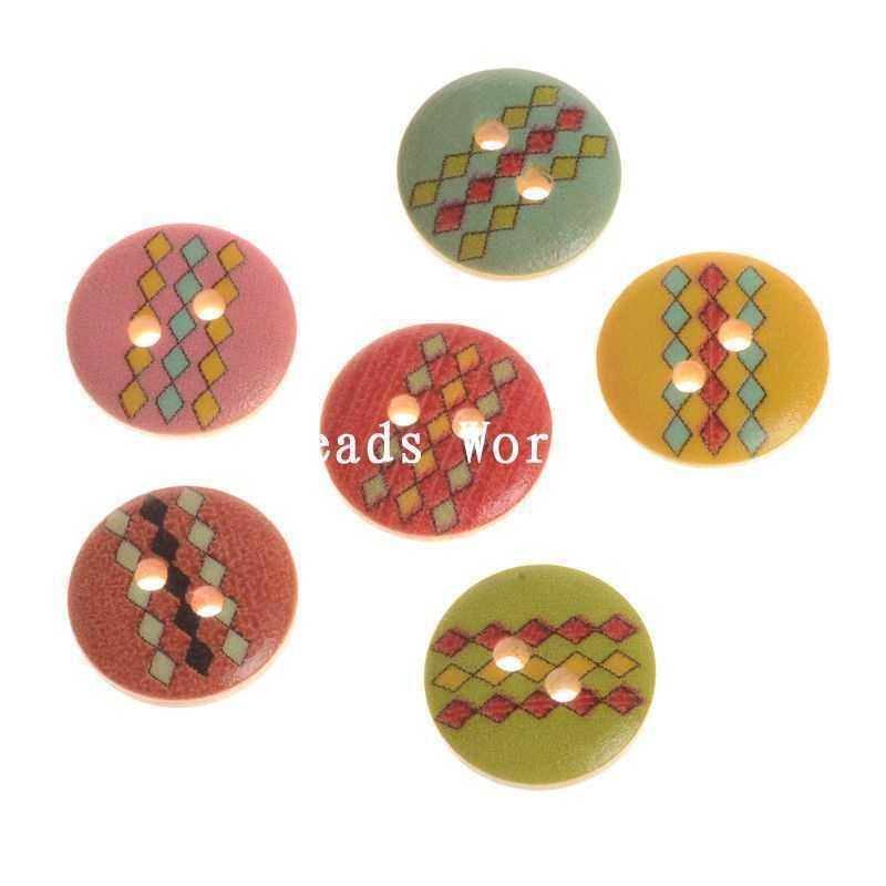 ộ_ộ ༽100 mixed raya rombo patrón 2 agujeros madera Costura Botones ...
