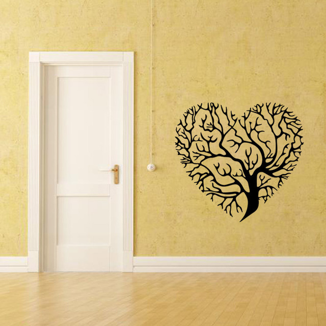 Removable DIY PVC Wall Stickers 53X57cm Black and White Love Heart ...