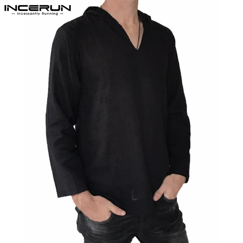 Brand New 100%Cotton Men's Tee Shirts Long Sleeve Hiphop Men T-Shirts V-Neck Hoodie Tops Hombre Joggers Autumn Casual Clothes