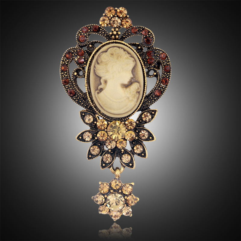 Fashion Gold Color Vintage Brooch Pins Female Brand