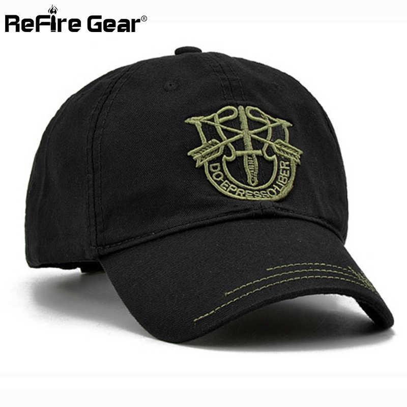 Gorra de béisbol ReFire Gear para hombre, gorra de camuflaje táctica, gorra de verano informal Unisex, gorra de moda, Gorra de béisbol de algodón ajustable con bordado del ejército