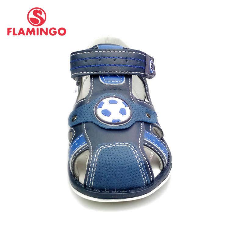 فلامنغو العلامة التجارية الصيف الأطفال الأحذية الجلدية نعل مغلقة اصبع القدم في الهواء الطلق الصنادل للأطفال الصبي حجم 21-26 شحن مجاني 91S-HL-1434