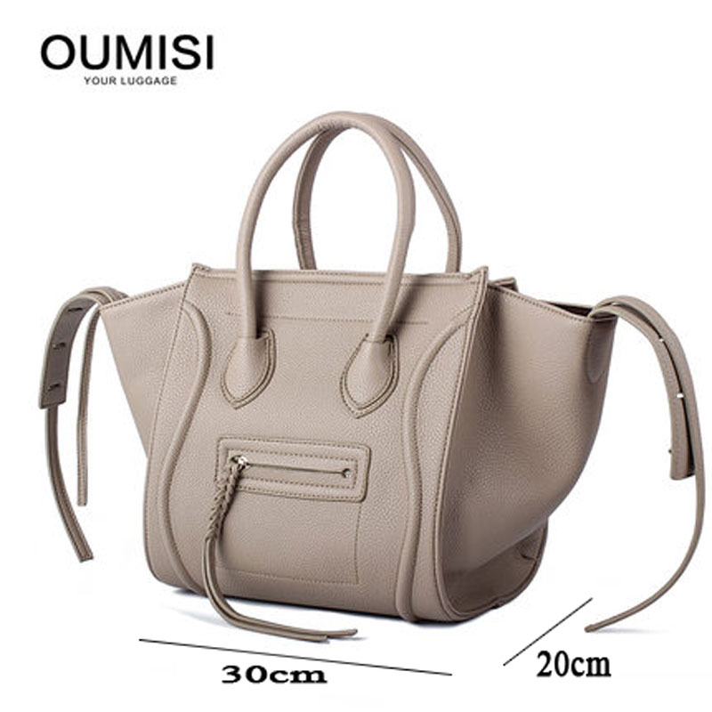 2018 New Famous Designer Luxury Women PU Leather Handbags Fashion Smile Face Tote Quality Trapeze Smiley