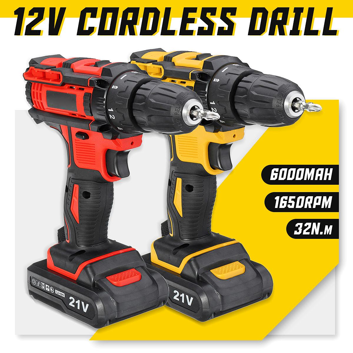 Electric Screwdriver Cordless Drill Wireless Power Driver 21V Max DC Lithium-Ion Battery 10mm 2-Speed 18+1 Torque adjustableElectric Screwdriver Cordless Drill Wireless Power Driver 21V Max DC Lithium-Ion Battery 10mm 2-Speed 18+1 Torque adjustable