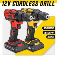 Electric Screwdriver Cordless Drill Wireless Power Driver 21V Max DC Lithium Ion Battery 10mm 2 Speed 18+1 Torque adjustable