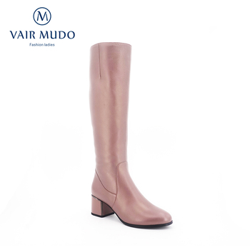 VAIR MUDO Knee High Boots thick High Heel Short Plush Genuine Leather Warm Comfortable Top Quality Women Winter Snow Boots ZT4
