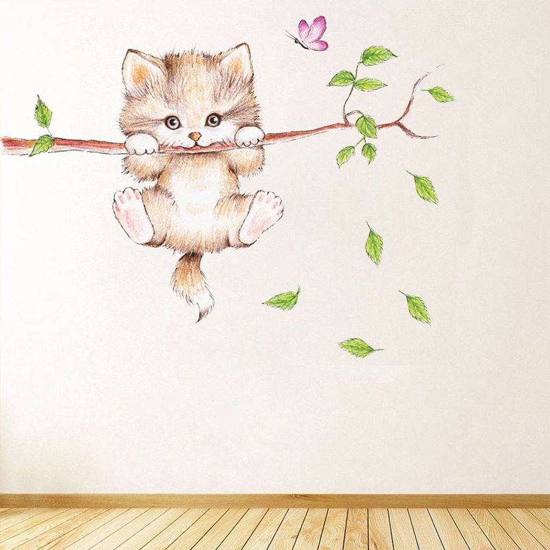 Lovely Cat hanging branches butterfly wall stickers for kids room Children Bedroom cute Animals Wall Decals Nursery Decor Mural 2