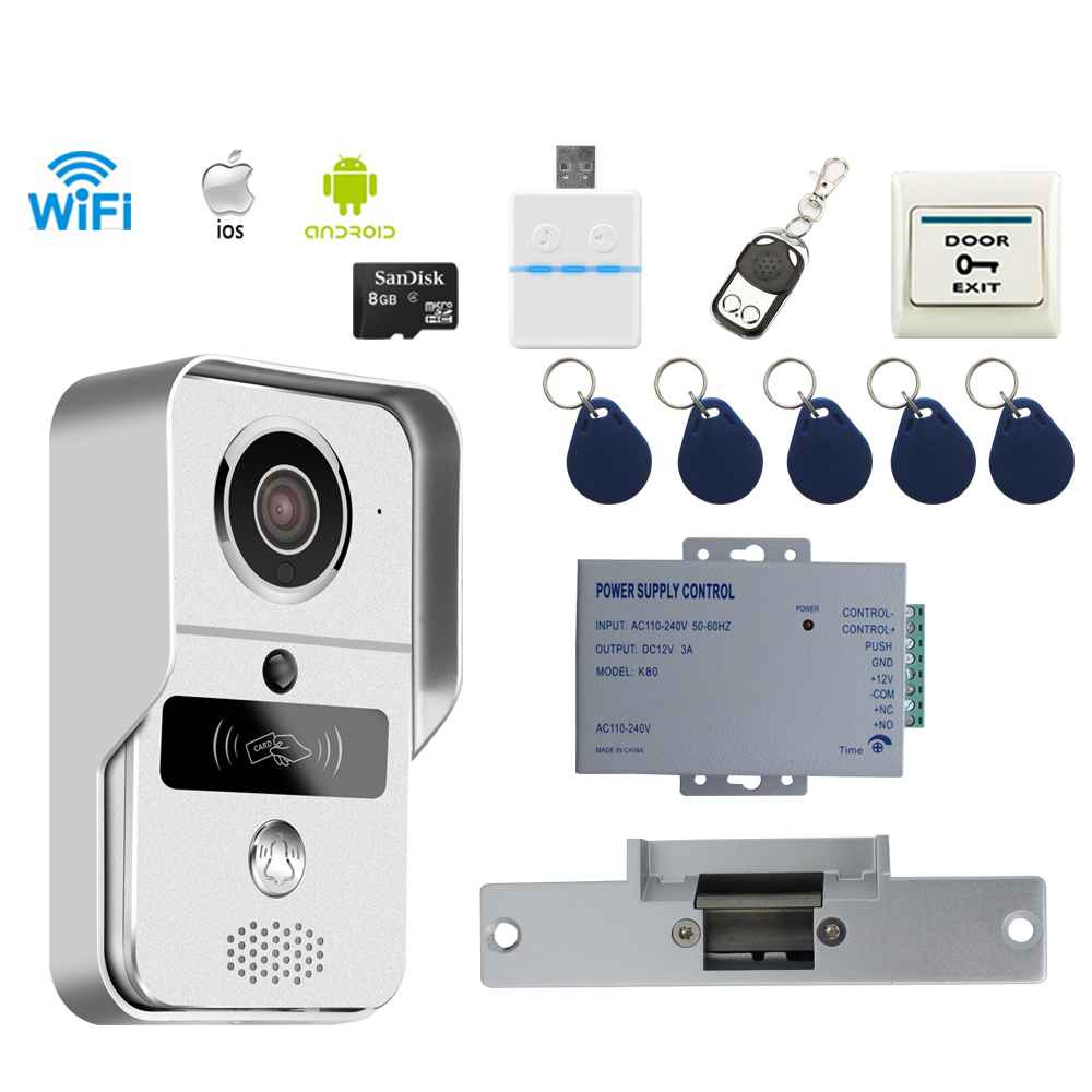 JERUAN 720P Wireless WiFi Video Door phone Intercom Kit Smartphone View Unlock IOS Android 8GB CARD +Cathode lock FREE SHIPPING 2015 free shipping wifi video door phone door bell intercom systems app can be run in android and ios devices