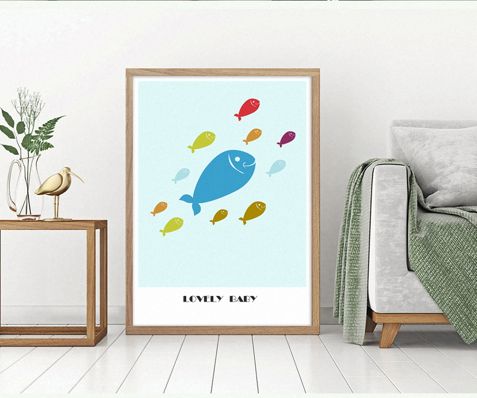 Lovely Baby Fish cartoon animal canvas Posters Print Wall Picture for Children 39 s room decoration in Painting amp Calligraphy from Home amp Garden